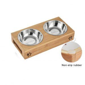 Bamboo Frame Pet Feeding Bowls - PetCareSunday
